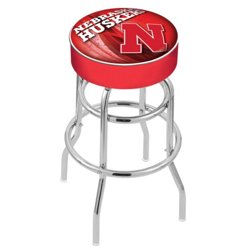 "30"" Nebraska (Design 2) Cushion Seat with Double-Ring Chrome Base Swivel Bar Stool by Holland Bar Stool Company ; UPC: 071235066642"