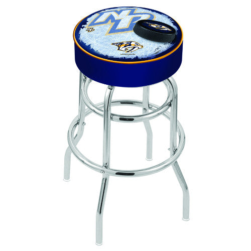 "25"" Nashville Predators Cushion Seat with Double-Ring Chrome Base (Design 2) Swivel Bar Stool by Holland Bar Stool mpany ; UPC: 071235065034"