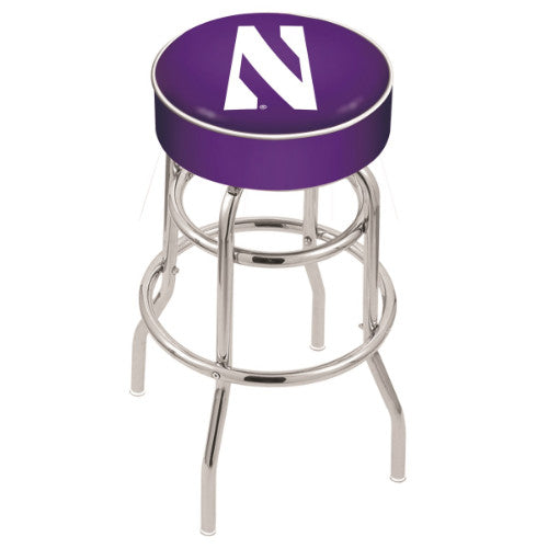 "25"" Northwestern Cushion Seat with Double-Ring Chrome Base Swivel Bar Stool by Holland Bar Stool Company ; UPC: 071235060626"