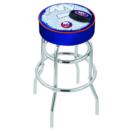 "25"" New York Islanders Cushion Seat with Double-Ring Chrome Base (Design 2) Swivel Bar Stool by Holland Bar Stool mpany ; UPC: 071235065058"