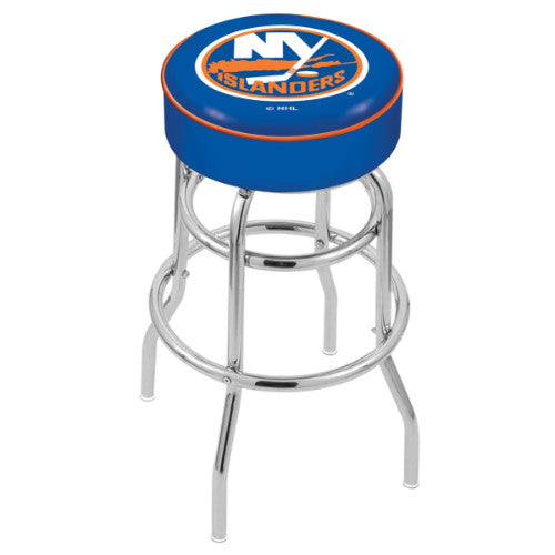 "25"" New York Islanders Cushion Seat with Double-Ring Chrome Base Swivel Bar Stool by Holland Bar Stool mpany ; UPC: 071235062767"
