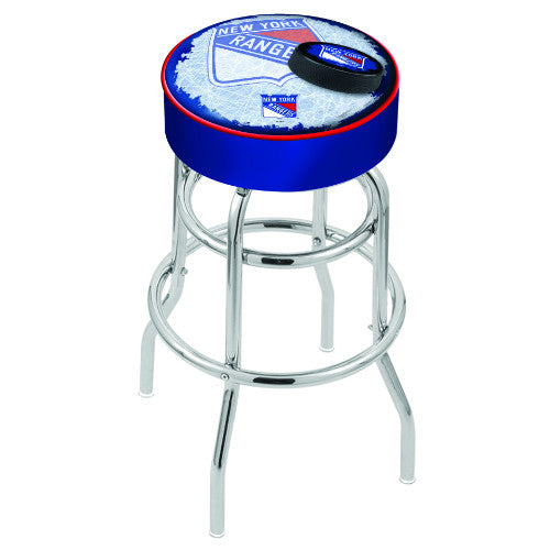 "25"" New York Rangers (Design 2) Cushion Seat with Double-Ring Chrome Base Swivel Bar Stool by Holland Bar Stool mpany ; UPC: 071235065065"