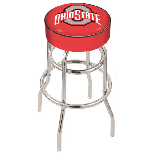 "30"" Ohio State Cushion Seat with Double-Ring Chrome Base Swivel Bar Stool by Holland Bar Stool Company ; UPC: 071235060718"