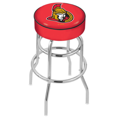 "30"" Ottawa Senators Cushion Seat with Double-Ring Chrome Base Swivel Bar Stool by Holland Bar Stool mpany ; UPC: 071235062811"