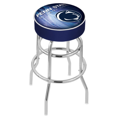 "30"" Penn State (Design 2) Cushion Seat with Double-Ring Chrome Base Swivel Bar Stool by Holland Bar Stool Company ; UPC: 071235066826"