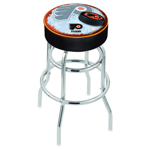 "25"" Philadelphia Flyers Cushion Seat with Double-Ring Chrome Base (Design 2) Swivel Bar Stool by Holland Bar Stool mpany ; UPC: 071235065133"