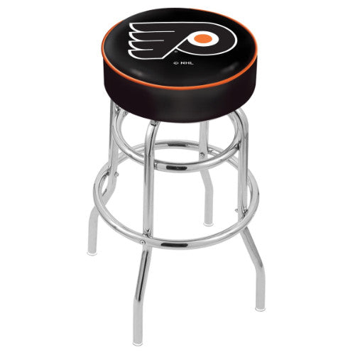 "25"" Philadelphia Flyers Cushion Seat with Double-Ring Chrome Base Swivel Bar Stool by Holland Bar Stool mpany ; UPC: 071235062828"