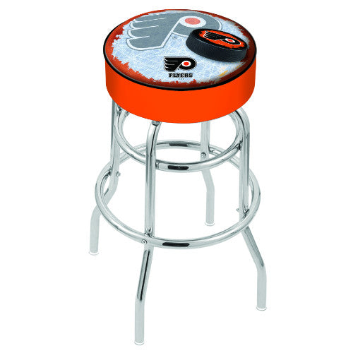 "25"" Philadelphia Flyers Cushion Seat with Double-Ring Chrome Base (Design 2) Swivel Bar Stool in Orange ; UPC: 071235065140"