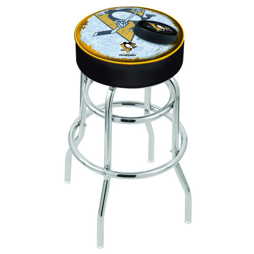 "30"" Pittsburgh Penguins Cushion Seat with Double-Ring Chrome Base (Design 2) Swivel Bar Stool by Holland Bar Stool mpany ; UPC: 071235066857"