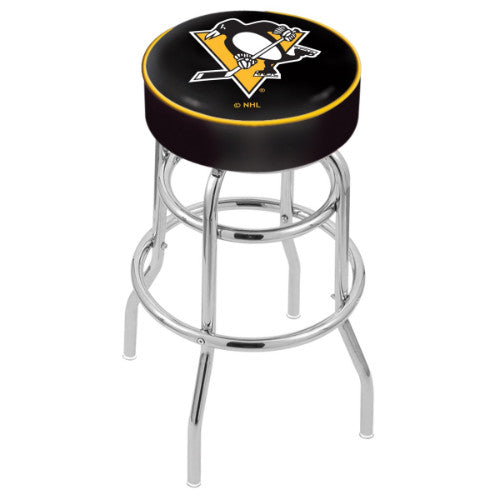 "25"" Pittsburgh Penguins Cushion Seat with Double-Ring Chrome Base Swivel Bar Stool by Holland Bar Stool mpany ; UPC: 071235062880"