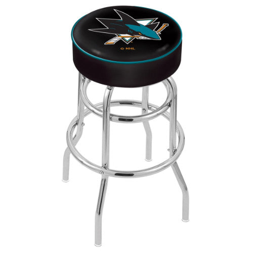 "25"" San Jose Sharks Cushion Seat with Double-Ring Chrome Base Swivel Bar Stool by Holland Bar Stool mpany ; UPC: 071235062903"