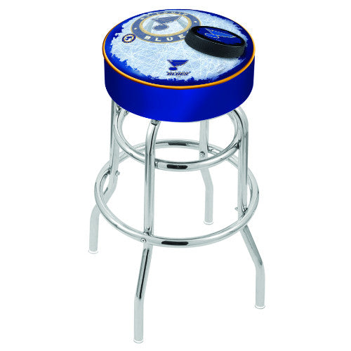 "30"" St Louis Blues Cushion Seat with Double-Ring Chrome Base (Design 2) Swivel Bar Stool by Holland Bar Stool mpany ; UPC: 071235066963"