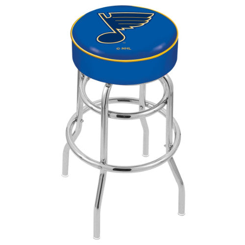 "25"" St Louis Blues Cushion Seat with Double-Ring Chrome Base Swivel Bar Stool by Holland Bar Stool mpany ; UPC: 071235062927"