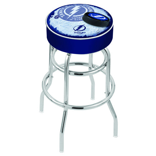 "25"" Tampa Bay Lightning Cushion Seat with Double-Ring Chrome Base (Design 2) Swivel Bar Stool by Holland Bar Stool mpany ; UPC: 071235065294"