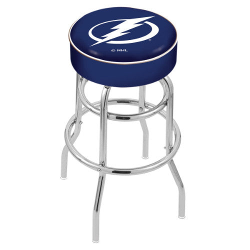 "30"" Tampa Bay Lightning Cushion Seat with Double-Ring Chrome Base Swivel Bar Stool by Holland Bar Stool mpany ; UPC: 071235062958"