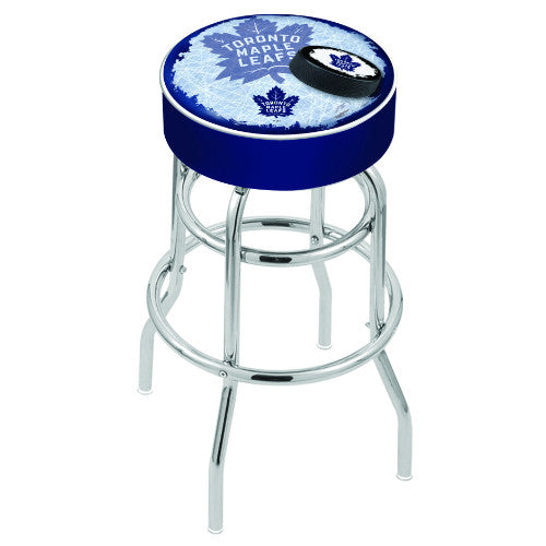 "25"" Toronto Maple Leafs Cushion Seat with Double-Ring Chrome Base (Design 2) Swivel Bar Stool by Holland Bar Stool mpany ; UPC: 071235065348"