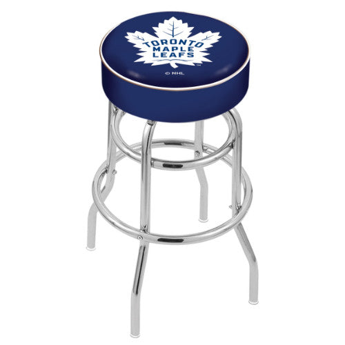 "30"" Toronto Maple Leafs Cushion Seat with Double-Ring Chrome Base Swivel Bar Stool by Holland Bar Stool mpany ; UPC: 071235062972"
