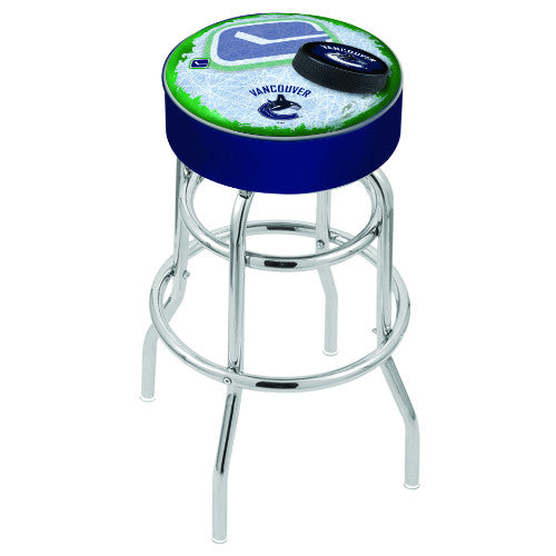 "30"" Vanuver Canucks Cushion Seat with Double-Ring Chrome Base (Design 2) Swivel Bar Stool by Holland Bar Stool mpany ; UPC: 071235067175"