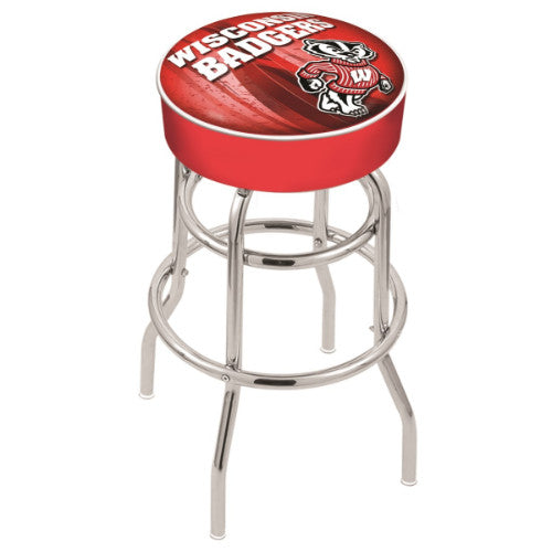 "30"" Wisconsin (Design 2) ""Badger"" Cushion Seat with Double-Ring Chrome Base Swivel Bar Stool by Holland Bar Stool Company ; UPC: 071235067298"