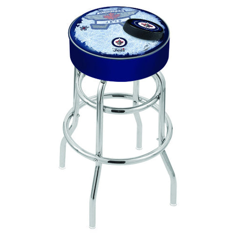 "30"" Winnipeg Jets Cushion Seat with Double-Ring Chrome Base (Design 2) Swivel Bar Stool by Holland Bar Stool mpany ; UPC: 071235067311"