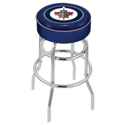"30"" Winnipeg Jets Cushion Seat with Double-Ring Chrome Base Swivel Bar Stool by Holland Bar Stool mpany ; UPC: 071235063030"