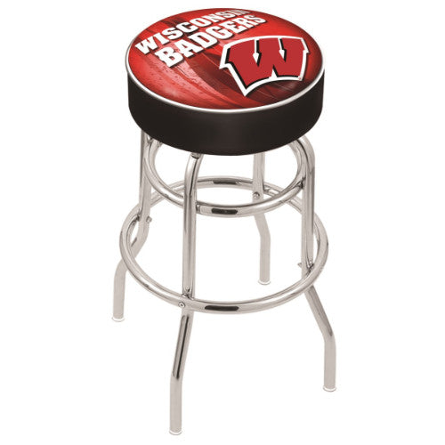 "25"" Wisconsin (Design 2) ""W"" Cushion Seat with Double-Ring Chrome Base Swivel Bar Stool by Holland Bar Stool Company ; UPC: 071235065621"