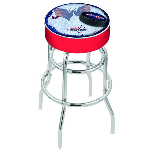 "25"" Washington Capitals Cushion Seat with Double-Ring Chrome Base (Design 2) Swivel Bar Stool by Holland Bar Stool mpany ; UPC: 071235065645"