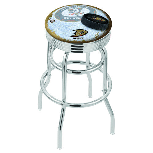 "30"" Chrome Double Ring Anaheim Ducks (Design 2) Swivel Bar Stool with 25"" Ribbed Accent Ring by Holland Bar Stool mpany; UPC: 071235075675"