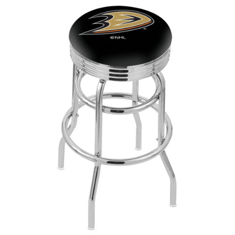 "25"" Chrome Double Ring Anaheim Ducks Swivel Bar Stool with 25"" Ribbed Accent Ring by Holland Bar Stool mpany; UPC: 071235072407"