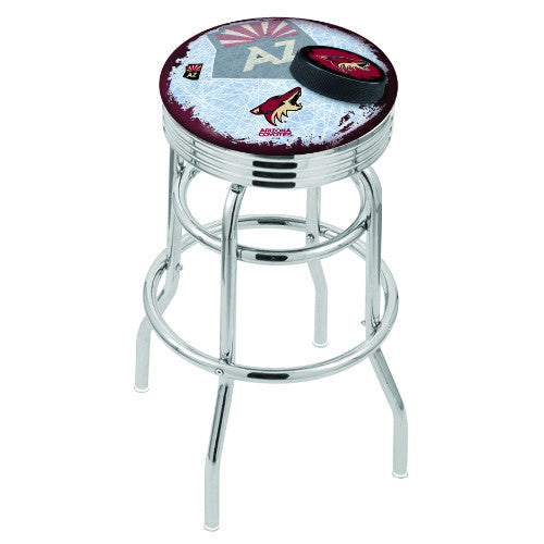 "30"" Chrome Double Ring Arizona yotes (Design 2) Swivel Bar Stool with 25"" Ribbed Accent Ring by Holland Bar Stool mpany; UPC: 071235075699"