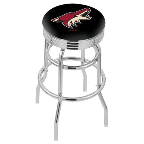 "30"" Chrome Double Ring Arizona yotes Swivel Bar Stool with 25"" Ribbed Accent Ring by Holland Bar Stool mpany; UPC: 071235072872"