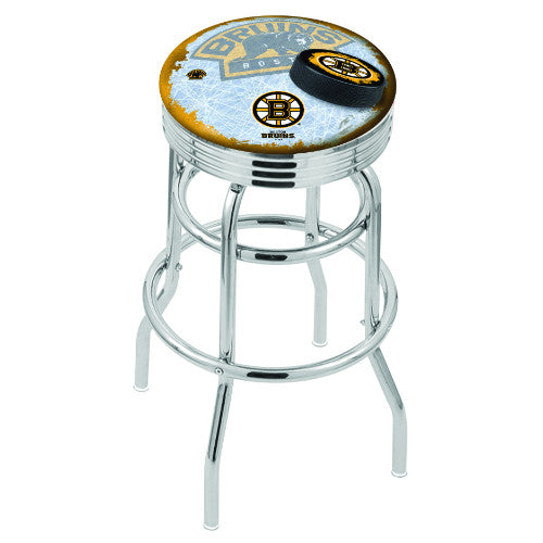 "30"" Chrome Double Ring Boston Bruins (Design 2) Swivel Bar Stool with 25"" Ribbed Accent Ring by Holland Bar Stool mpany; UPC: 071235075781"
