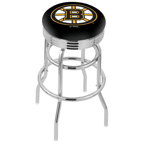 "30"" Chrome Double Ring Boston Bruins Swivel Bar Stool with 25"" Ribbed Accent Ring by Holland Bar Stool mpany; UPC: 071235072438"