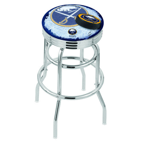 "30"" Chrome Double Ring Buffalo Sabres (Design 2) Swivel Bar Stool with 25"" Ribbed Accent Ring by Holland Bar Stool mpany; UPC: 071235075811"