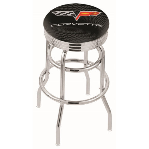"25"" Chrome Double Ring Corvette C6 Black Swivel Bar Stool with 2.5"" Ribbed Accent Ring by Holland Bar Stool Co.; UPC: 071235073121"