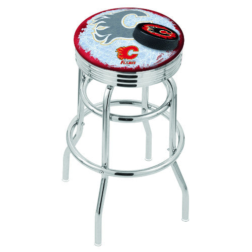 "30"" Chrome Double Ring Calgary Flames (Design 2) Swivel Bar Stool with 25"" Ribbed Accent Ring by Holland Bar Stool mpany; UPC: 071235075828"