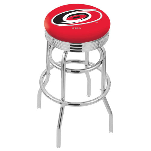 "30"" Chrome Double Ring Carolina Hurricanes Swivel Bar Stool with 25"" Ribbed Accent Ring by Holland Bar Stool mpany; UPC: 071235072490"