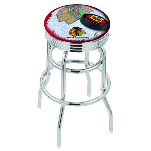 "30"" Chrome Double Ring Chicago Blackhawks (Design 2) Swivel Bar Stool with 25"" Ribbed Accent Ring by Holland Bar Stool mpany; UPC: 071235075880"