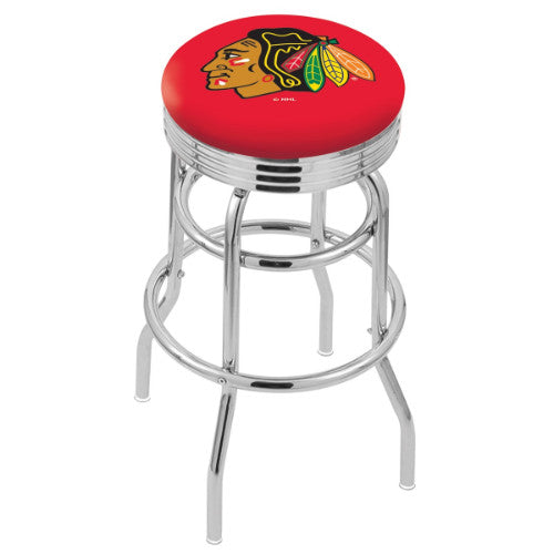 "30"" Chrome Double Ring Chicago Blackhawks Swivel Bar Stool with 25"" Ribbed Accent Ring by Holland Bar Stool mpany; UPC: 071235072537"