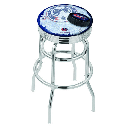 "25"" Chrome Double Ring lumbus Blue Jackets (Design 2) Swivel Bar Stool with 25"" Ribbed Accent Ring by Holland Bar Stool mpany; UPC: 071235074227"