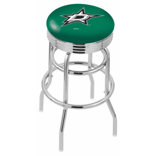 "25"" Chrome Double Ring Dallas Stars Swivel Bar Stool with 25"" Ribbed Accent Ring by Holland Bar Stool mpany; UPC: 071235072582"