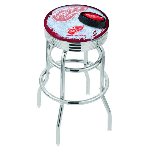 "25"" Chrome Double Ring Detroit Red Wings (Design 2) Swivel Bar Stool with 25"" Ribbed Accent Ring by Holland Bar Stool mpany; UPC: 071235074296"