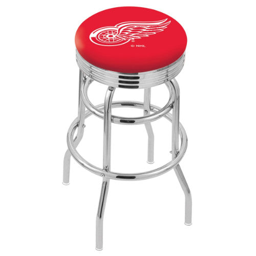 "25"" Chrome Double Ring Detroit Red Wings Swivel Bar Stool with 25"" Ribbed Accent Ring by Holland Bar Stool mpany; UPC: 071235072605"