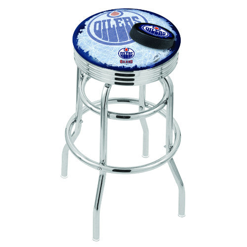 "25"" Chrome Double Ring Edmonton Oilers (Design 2) Swivel Bar Stool with 25"" Ribbed Accent Ring by Holland Bar Stool mpany; UPC: 071235074340"