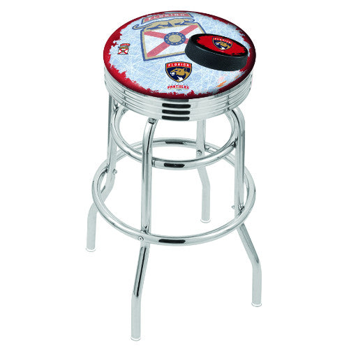 "30"" Chrome Double Ring Florida Panthers (Design 2) Swivel Bar Stool with 25"" Ribbed Accent Ring by Holland Bar Stool mpany; UPC: 071235076061"