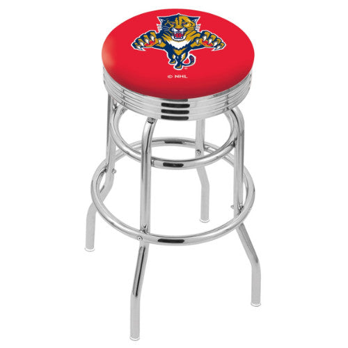 "30"" Chrome Double Ring Florida Panthers Swivel Bar Stool with 25"" Ribbed Accent Ring by Holland Bar Stool mpany; UPC: 071235072650"
