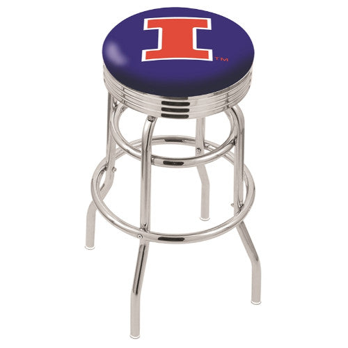 "30"" Chrome Double Ring Illinois Swivel Bar Stool by Holland Bar Stool Company; UPC: 071235071257"