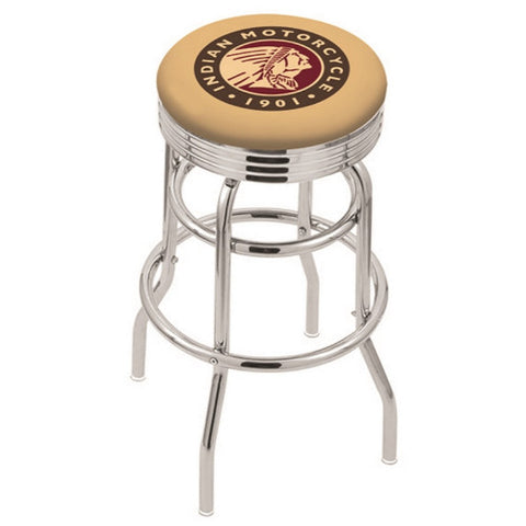 "30"" Chrome Double Ring Indian Motorcycle Swivel Bar Stool with 2.5"" Ribbed Accent Ring by Holland Bar Stool Company; UPC: 071235073619"