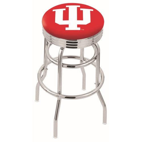 "30"" Chrome Double Ring Indiana Swivel Bar Stool by Holland Bar Stool Company; UPC: 071235070373"