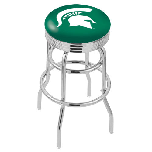 "30"" Chrome Double Ring Michigan State Swivel Bar Stool by Holland Bar Stool Company; UPC: 071235070533"